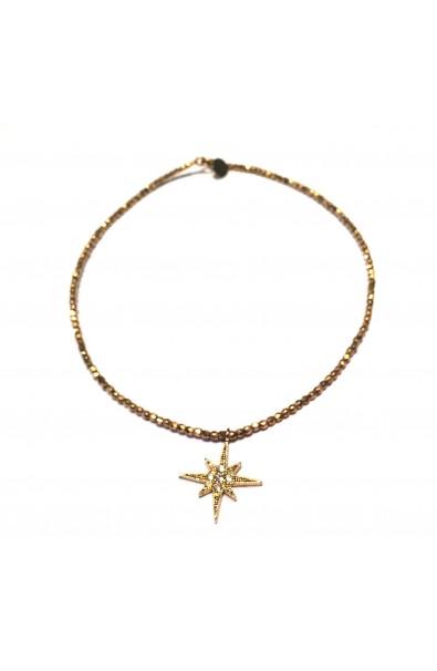 """Dámský náhrdelník SYMBOL """"choker"""" zlatý - """"North Star"""""""