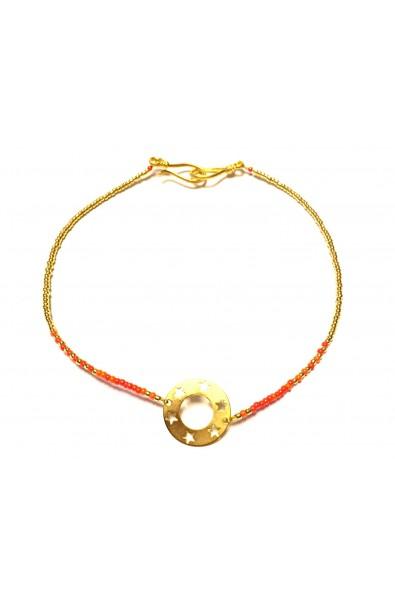 """Dětský náhrdelník SYMBOL """"choker"""" oranžovo-zlatý"""