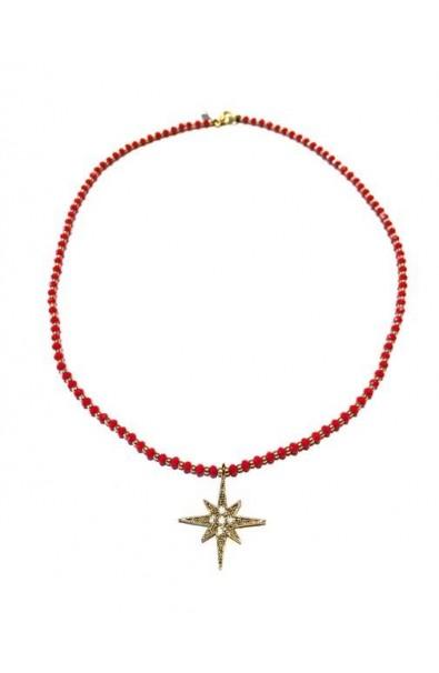 Dámský náhrdelník SYMBOL - North Star - červený