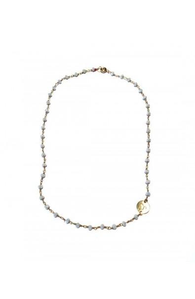 Dámský náhrdelník SYMBOL - růženec bílý s medajlonkem