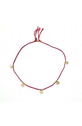 Dámský náhrdelník SYMBOL - červená šňůrka s medajlonky