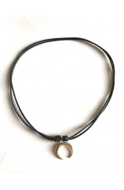 Dámský náhrdelník SYMBOL - půlměsic v kůži