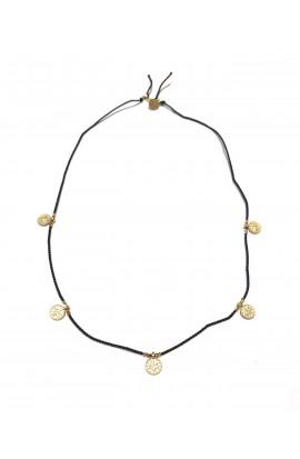 Dámský náhrdelník SYMBOL - černá šňůrka s medajlonky