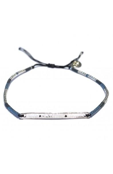 Pánský tenký náramek SYMBOL s destičkou - modro-šedo-stříbrný