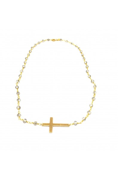 Dámský náhrdelník SYMBOL - růženec šedo - zlatý