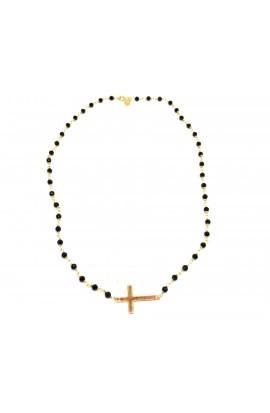 Dámský náhrdelník SYMBOL - růženec černo-zlatý