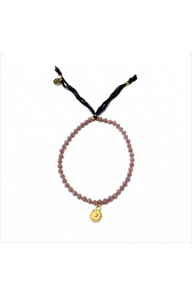 Dámský náramek SYMBOL z japonských korálků a broušených krystalů - růžový