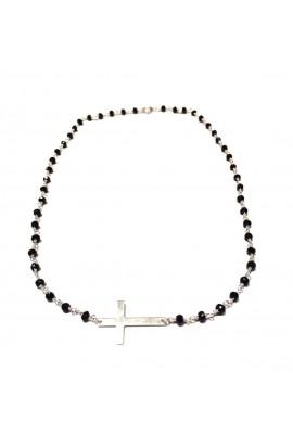 Dámský náhrdelník SYMBOL - růženec černo-střibrný